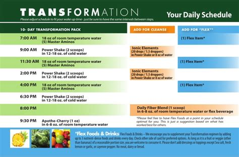 Detox Purium by Purium 10 Day Transformation Daily Schedule