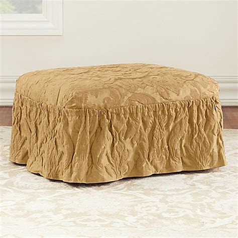 sure fit ottoman cover sure fit 174 matelasse damask ottoman cover www