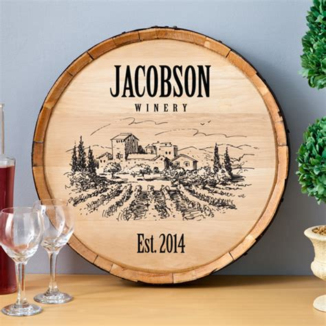 Personalized Home Decor Signs Personalized Wine Barrel Home Decor Sign Personalize At Blackacedesign