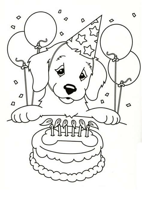 draw cute dog birthday cake coloring pages  kids