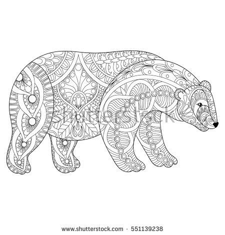 bear mandala coloring pages hand drawing unicorn adult anti stress stock vector