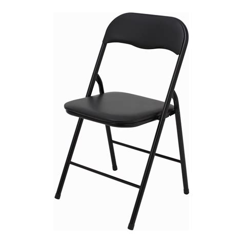 foldable chairs marquee padded vinyl black folding chair bunnings warehouse