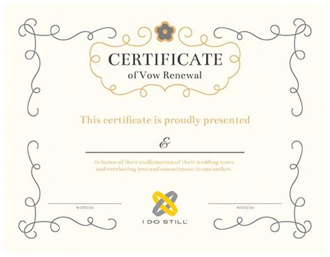 Free Printable Ornate Certificate of Vow Renewal   I Do Still!