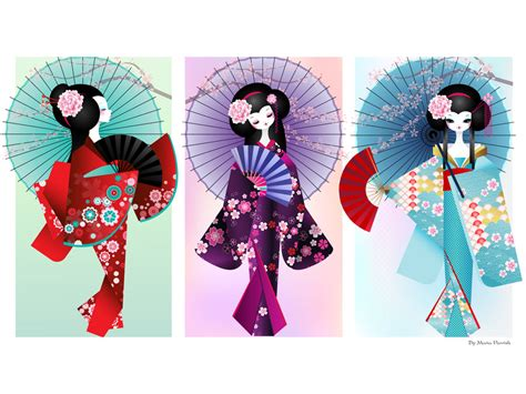 Origami Geisha - origami dolls print by minercia on deviantart we