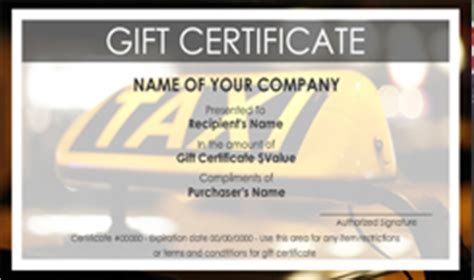 automotive gift certificate template limousine and taxi service gift certificate templates