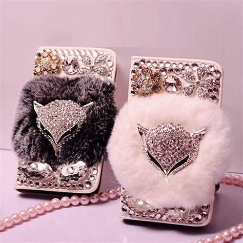Promo Ipaky New Generation Samsung Galaxy J1 2016 J120 Back real rabbit fur fox rhinestone bling flip leather wallet for samsung galaxy s7 edge s7