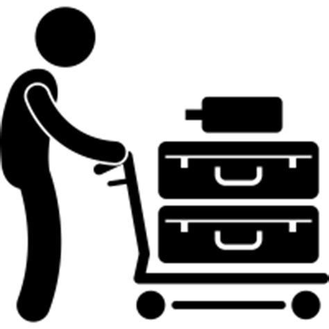 pushing airport luggage cart icons noun project