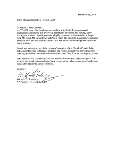Finance Letter Of Recommendation Letter Of Recommendation Vp Finance
