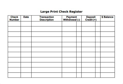 Sle Check Register Template 7 Documents In Pdf Word Print Your Own Checks Template