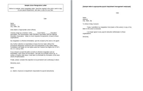 Union Resignation Letter by Union Resignation Keyta