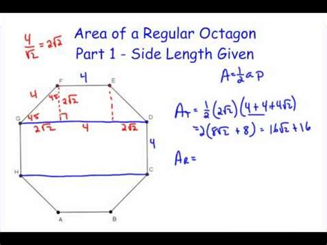 area of a section area of a regular octagon part 1 youtube