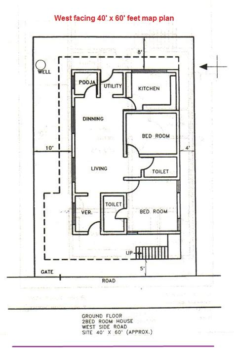 house plan as per vastu for 40x40 west facing plot