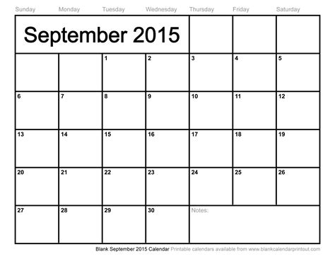 Blank Calendar For September 2015 Blank September 2015 Calendar To Print