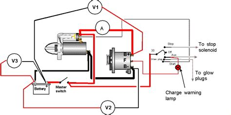 alternator diagram where does the warning light fit into the circuit from