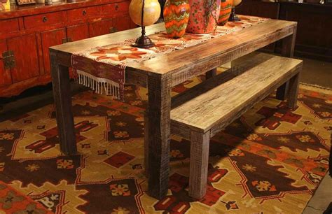 Dining Table Carpet Mat Tribal Pattern Area Rug And Distressed Dining Table With