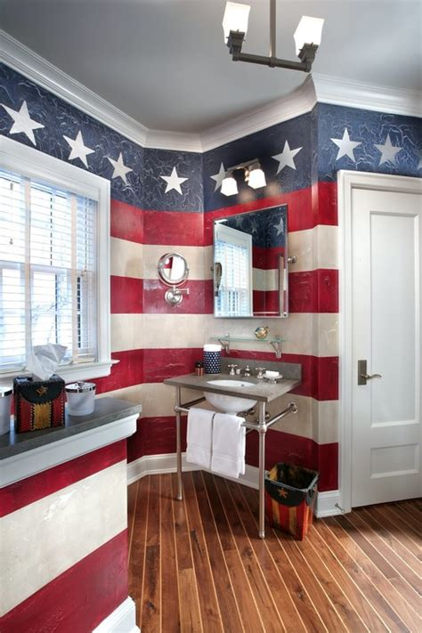 red white and blue bathroom americana decor perfect for labor day