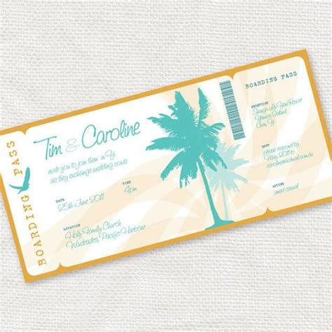 printable wedding invitation boarding pass beach party invitation printable diy wedding invitation