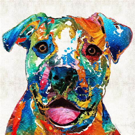 colorful dogs colorful pit bull happy by painting by