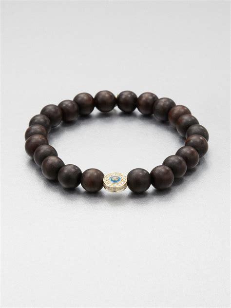 beaded stretch bracelets sydney evan 14k gold wood beaded stretch bracelet