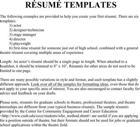 theater resume templates for excel pdf and word