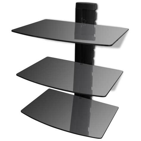 Black Glass Wall Shelf by 3 Tier Wall Mounted Glass Dvd Shelf Black Vidaxl