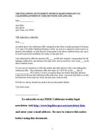 And Settlement Letter Template by Sle California Settlement Offer Letter