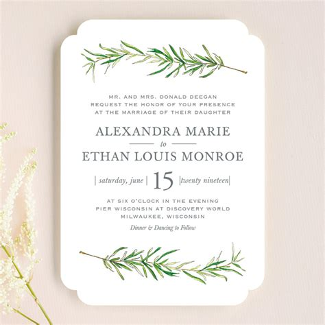 Simple sprigs wedding invitations by erin deegan minted