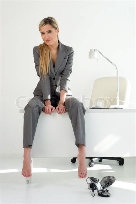 Off White Desk Chair Young Beautiful Businesswoman Is Sitting On The Table In