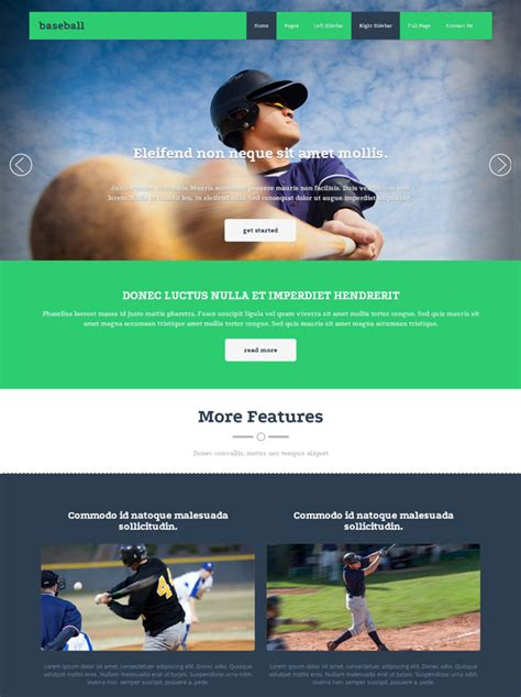 Baseball Academy Website Template Baseball Sports Dreamtemplate Free Website Templates For Academy