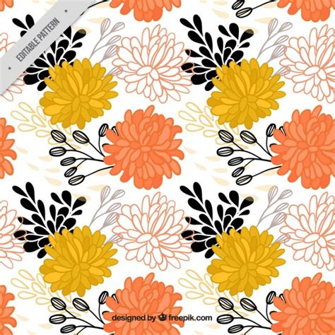 hand drawn flower pattern hand drawn ornamental flowers pattern vector free download