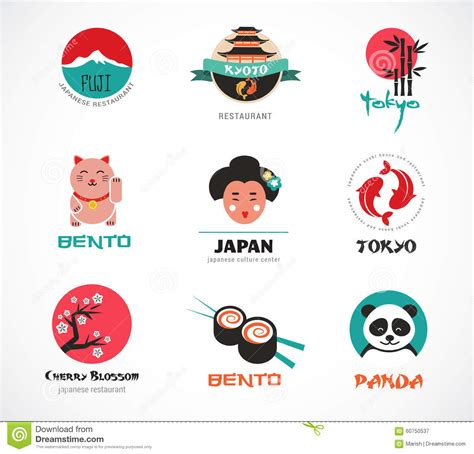 flat icon design japan japanese food and sushi icons menu design stock vector