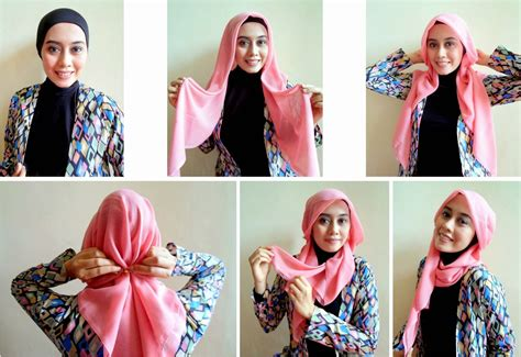 tutorial hijab ke sekolah tutorial jilbab segi empat untuk wajah bulat
