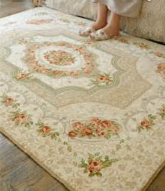 Cream Rose Rug French Country Victorian Floral Cream Living Bedroom Floor