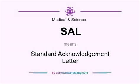 Acknowledgement Letter Meaning sal standard acknowledgement letter in science