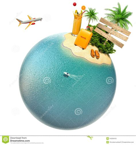 planet turs tropical island plane and boat on the planet travel
