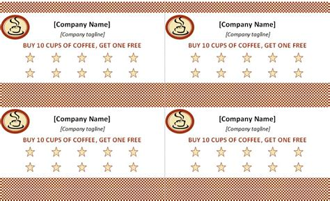 free printable loyalty card template best photos of punch card template word free printable