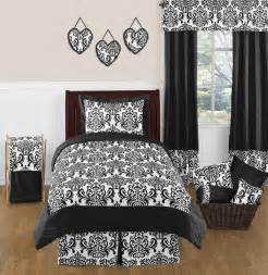 Isabella black and white damask bedding kids or teen twin 4 pc set 8