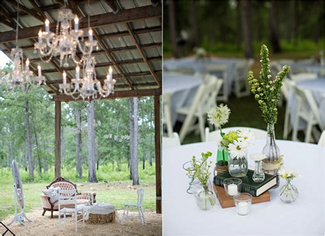 barn wedding with vintage style decorations