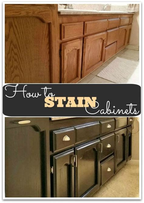 How To Stain Your Kitchen Cabinets How To Gel Stain Cabinets She Buys He Builds