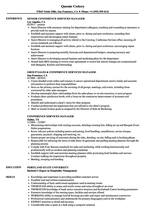 Conference Services Coordinator Resume by Conference Services Manager Resume Sles Velvet