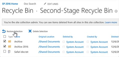 Keranjang Tingkat memulihkan item yang dihapus dari keranjang sah kumpulan situs sharepoint