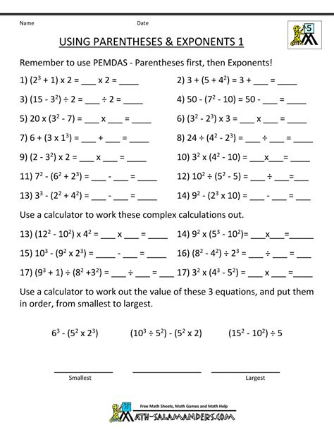 printable math worksheets on exponents math worksheets 5th grade complex calculations