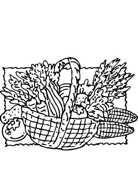 thanksgiving basket coloring page free coloring pages of vegetables in basket