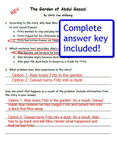 reading comprehension test with answer key quot garden of abdul gasazi quot mini lesson classroom caboodle