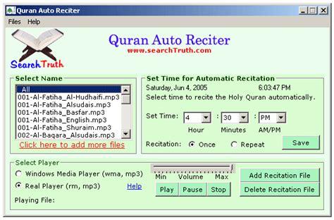 quran auto reciter software quran koran qur an auto reciter all about software and technology