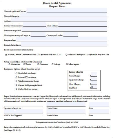 room request rental agreement form sle 9 exles in word pdf