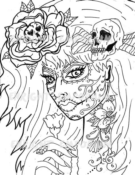 day of the dead face coloring pages items similar to day of the dead girl coloring page