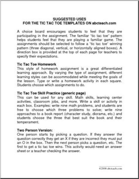 Tic Tac Toe Template For Teachers by Teaching Ideas Tic Tac Toe Templates Abcteach