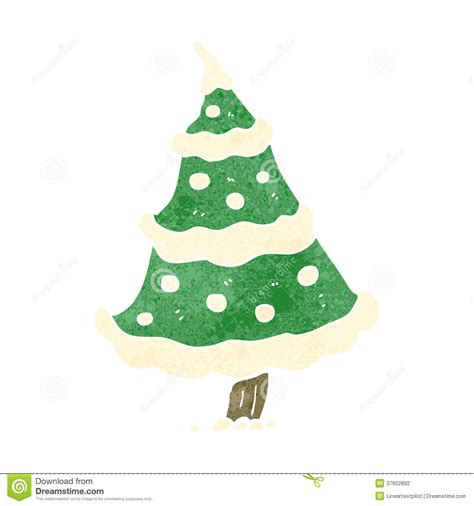 retro cartoon snowy christmas tree stock illustration