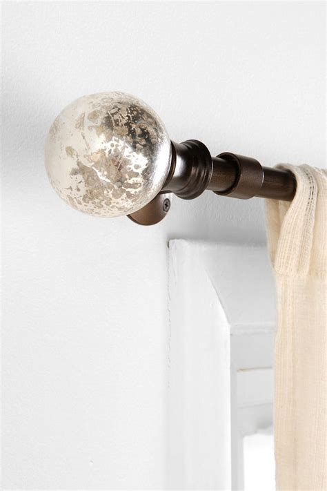 glass ball curtain pole mercury glass finial set of 2 urbanoutfitters new